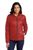 Ladies Packable Puffy Jacket Fire Red with Graphite Thumbnail