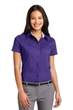 Women's Short Sleeve Easy Care Shirt Purple with Light Stone Thumbnail