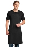 Easy Care Extra Long Bib Apron With Stain Release Black Thumbnail