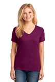Women's 5.4-oz 100 Cotton V-neck T-shirt Raspberry Thumbnail