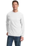 100 Cotton Long Sleeve T-shirt With Pocket White Thumbnail