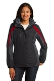 Women's Colorblock 3-in-1 Jacket Black with Magnet and Signal Red Thumbnail