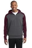 Sport-tek Colorblock Tech Fleece 1/4-zip Hooded Sweatshirt Graphite Heather with Maroon Thumbnail