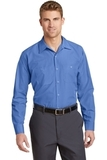 Long Sleeve Striped Industrial Work Shirt Petrol Blue with Navy Thumbnail