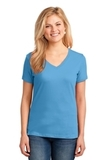Women's 5.4-oz 100 Cotton V-neck T-shirt Aquatic Blue Thumbnail