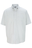 Men's Dress Button Down Oxford SS Grey Stripe Thumbnail