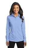 Women's Port Authority Dimension Knit Dress Shirt Dress Shirt Blue Thumbnail