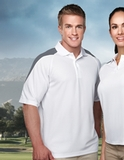 100 Poly Waffle Knit Moisture Wicking Polo With Shoulder Accents White with Gray Thumbnail
