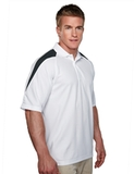 100 Poly Waffle Knit Moisture Wicking Polo With Shoulder Accents White with Black Thumbnail