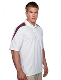 100 Poly Waffle Knit Moisture Wicking Polo With Shoulder Accents White with Dark Maroon Thumbnail