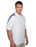 100 Poly Waffle Knit Moisture Wicking Polo With Shoulder Accents White with Royal Blue Thumbnail