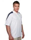 100 Poly Waffle Knit Moisture Wicking Polo With Shoulder Accents White with Navy Thumbnail
