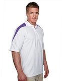 100 Poly Waffle Knit Moisture Wicking Polo With Shoulder Accents White with Purple Thumbnail