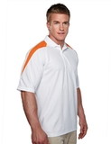 100 Poly Waffle Knit Moisture Wicking Polo With Shoulder Accents White with Orange Thumbnail