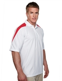 100 Poly Waffle Knit Moisture Wicking Polo With Shoulder Accents White with Red Thumbnail