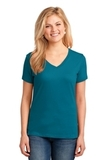 Women's 5.4-oz 100 Cotton V-neck T-shirt Teal Thumbnail