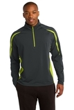 Sport-wick Stretch 1/2-zip Colorblock Pullover Charcoal Grey with Charge Green Thumbnail