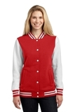 Women's Fleece Letterman Jacket True Red with White Thumbnail