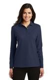 Women's Silk Touch Long Sleeve Polo Shirt Navy Thumbnail