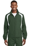 Colorblock Raglan Jacket Forest Green with White Thumbnail