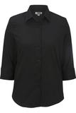 Women's 3/4 Sleeve Poplin Shirt Black Thumbnail