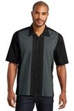 Retro Camp Shirt Black with Steel Grey Thumbnail