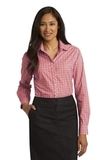 Women's Long Sleeve Gingham Easy Care Shirt Tangerine with Pink Thumbnail