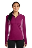 Women's SportWick Stretch Contrast 1/2-Zip Pullover Pink Rush with Pink Rush Heather Thumbnail
