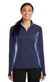 Women's SportWick Stretch Contrast 1/2-Zip Pullover True Navy with True Navy Heather Thumbnail