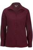 Women's Easy Care Poplin Shirt LS Burgundy Thumbnail