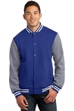 Fleece Letterman Jacket True Royal with Vintage Heather Thumbnail