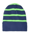 Striped Beanie with Solid Band Team Navy with Flash Green Thumbnail