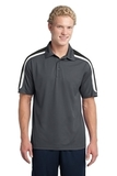 Micropique Shoulder Block Polo Iron Grey with Black and White Thumbnail