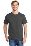 Tagless 100 Comfortsoft Cotton T-shirt With Pocket Smoke Grey Thumbnail