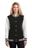 Women's Fleece Letterman Jacket Black with White Thumbnail