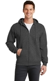 7.8-oz Full-zip Hooded Sweatshirt Dark Heather Grey Thumbnail