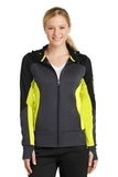 Women's Tech Fleece Colorblock FullZip Hooded Jacket Black with Graphite Heather and Citron Thumbnail