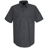 Short Sleeve Industrial Work Shirt With Stripe Charcoal with Blue White Stripe Thumbnail