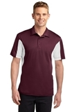 Side Blocked Performance Micropique Polo Shirt Maroon with White Thumbnail