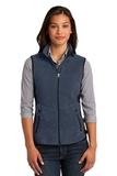 Women's Port Authority R-tek Pro Fleece Full-zip Vest Navy Heather with Black Thumbnail