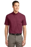Short Sleeve Easy Care Shirt Burgundy with Light Stone Thumbnail