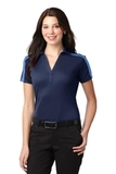 Women's Port Authority Silk Touch Performance Colorblock Stripe Polo Navy with Carolina Blue Thumbnail