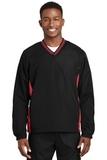 Tipped V-neck Raglan Wind Shirt Black with True Red Thumbnail