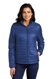 Ladies Packable Puffy Jacket Cobalt Blue Thumbnail
