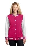 Women's Fleece Letterman Jacket Pink Raspberry with White Thumbnail