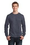 Long Sleeve 5.4-oz. 100 Cotton T-shirt Heather Navy Thumbnail