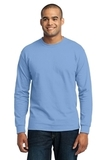 Long Sleeve 50/50 Cotton / Poly T-shirt Light Blue Thumbnail