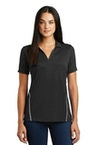 Women's Contrast Tough Polo Black with Heather Grey Thumbnail