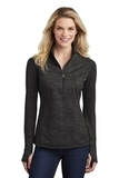 Women's Sport-Wick Stretch Reflective Heather 1/2-Zip Pullover Black Thumbnail