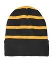 Striped Beanie with Solid Band Black with Gold Thumbnail